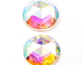 Lot (2) 21mm Czech vintage foil mirrored AB crystal faceted flat back glass rhinestones B253-5