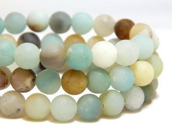 6mm Matte Flower Amazonite, 6mm Matte Mulit-Color Amazonite, 6mm Matte Amazonite, 6mm Frosted Amazonite, Frosted Amazonite, B-21B