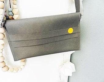 Small Bag| Grey Bag| Gray Handbag| Grey and ocher Yellow| Vanity Bag| Crossbody Bag| Gift for Her