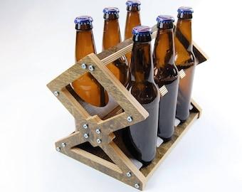 Beer Six Pack Carrier - Modern wood bottle caddy