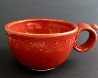 Shaving Mug, Stoneware, Intense Glossy Red