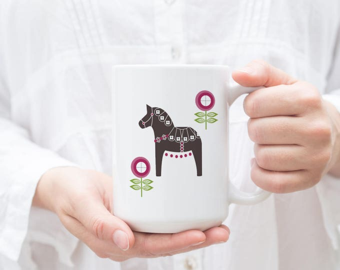 Magenta Floral Dala Horse Mug