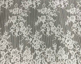 Chantilly Lace Fabric sell by yards high quality eyelash lace fabric Bilateral Eyelash Lace, French Style Wedding Dress lace-005