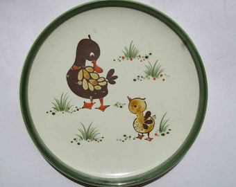 vintage 1970s Schramberg Entchen (duckling) plate, hand painted German pottery