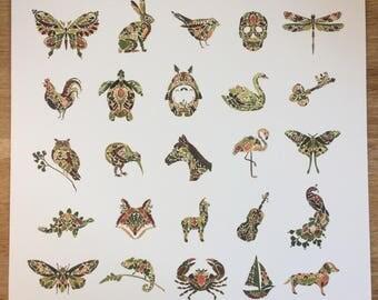 "STUDIO SALE Fern Miniatures Print 12x12"" Giclée"