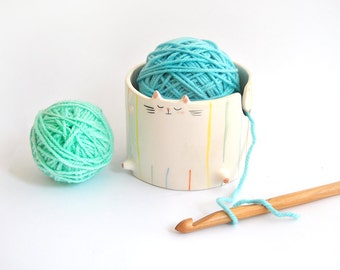 Ceramic Chubby Cat Yarn Bowl/ Knitting Bowl/ Crochet Bowl, Decorated with Multicolor Stripes. Ready To Ship