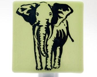 Elephant Night Light Screen Printed on Light Green Glass