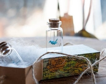 Origami Crane in Glass Bottle Set Of 2 - Light Blue Miniature - Gift for Her - Wedding Favour - Origami Bird - Small Paper Bird  Peace Crane