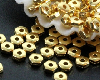 50 or More, Hex Heishi Beads, 4mm, TierraCast, Spacer Beads, TierraCast, 4 mm, Accent Beads, Gold Plated Pewter, 50 or More Pieces, 1125