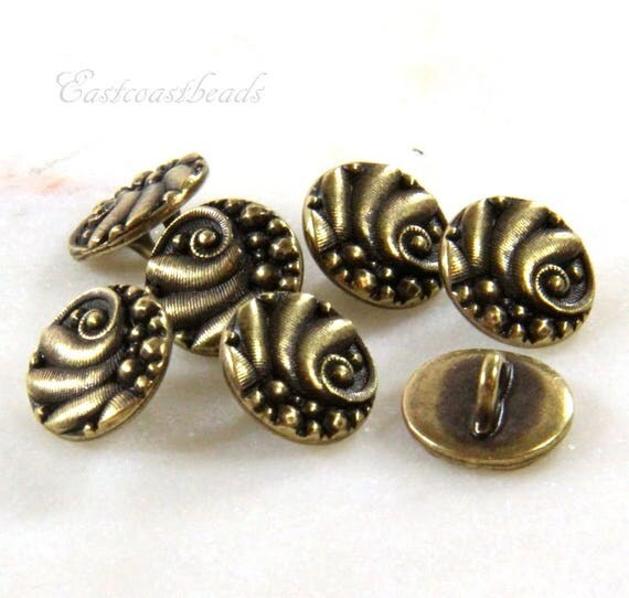 Metal shank buttons tierracast czech buttons leather for Buttons with shanks for jewelry