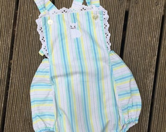 Vintage toddler striped cat romper/sunsuit. Approx size 2/3.