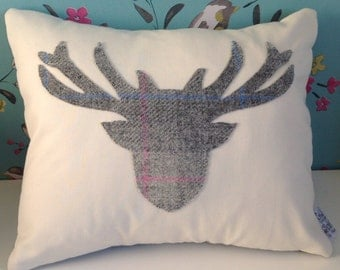 Stag silhouette tweed cushion