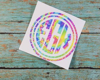 Car Decal;  Yeti Decal; Vinyl Decal; Monogram Decal; Tie Dye Decal