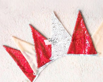 Sparkle Red and White Sequin Pennants Garland Christmas Banner Winter Holiday Birthday Party Mantle Decoration Photo booth Props Backdrop