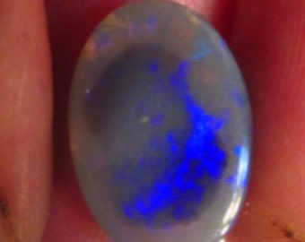 "Bright Natural Australian ""Black Egg"" Opal Blue Purple Rare Red Pin Fire Micro Honeycomb Polished 4cts 15x10x4mm VIDEO"