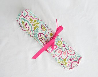 Makeup brush roll cosmetic roll large spirited aqua with pink (MBR17-001)