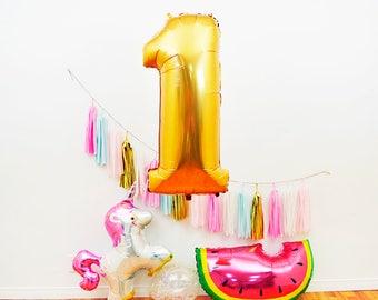 "40"" Jumbo Gold Number Balloon,Gold Birthday Balloon, Anniversary Balloon, First Birthday, Second Birthday, Third Birthday, Baby Photo Prop"