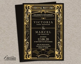 Vintage Art Deco Wedding Invitation | DIY Printable Great Gatsby Art Nouveau Roaring 20's Themed Wedding Invite In Geometric Black And Gold