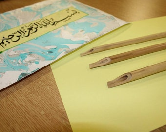 Calligraphy bamboo reed pens (Set of three) for calligraphy