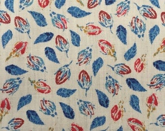 Liberty of London Blue White Cotton Tana Floral Leaf 1.5 Yards