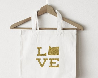 Love Oregon tote bag/custom tote/market bag/canvas shopping bag/state tote/market tote/ reuseable bag/ Oregon state bag/ gold