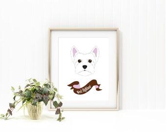 West highland terrier dog print/ westie dog print/pet print/pet name print/custom pet print/ custom dog print/pet name art/ puppy print