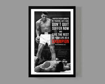 Muhammad Ali Poster Print - Champion Quote - Cassius Clay, Inspirational, Motivational, Sports, Historic, Boxing