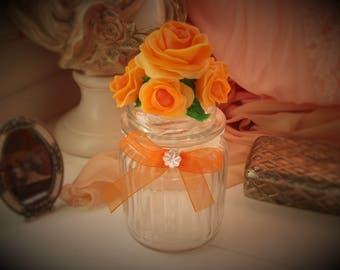 Bonbonnière shabby chic.Porcelaine.Flacon glass.Bathroom.Roses.VintageOrange.Organza.Romantique.Rétro.Amour.Fiole.Déclaration.Bocal.