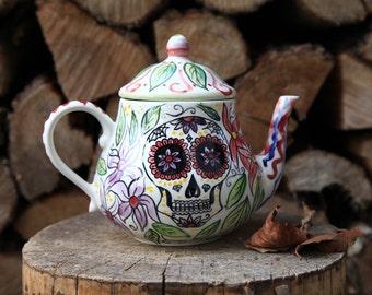 calavera mexicana teapot, sugar skull colorful, tea lovers made to order