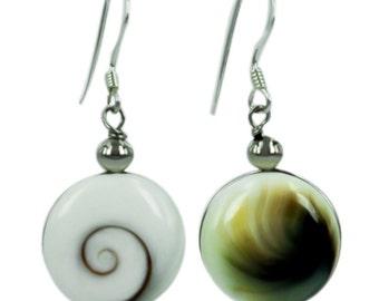 Shivaauge Silver earrings round 12 mm back green brown earrings 925 Silver Shiva eye eye jewelry (No. OSH-104)