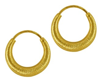 Silver Earring hoops gold plated thick brushed Sterling Silver 925 different sizes (No. OSG - 01).