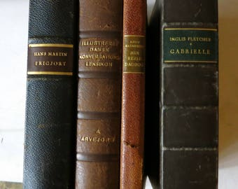 4 Octavo Leather Bound Danish Books 1930s