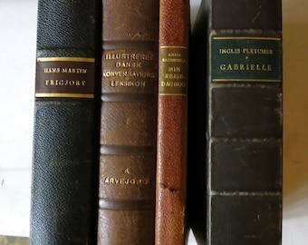 4 Octavo Leather Bound Danish Books 1930s