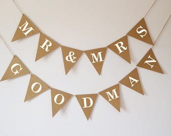 Large personalised mr and mrs wedding bunting banner decoration, photo prop