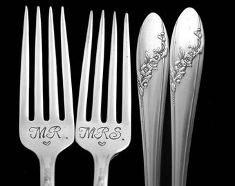 Stamped Wedding Forks Mr Mrs Fork Something Old Queen Bess Engraved Vintage Flatware Silver Plated Dinner Luncheon Forks Engagement Gift