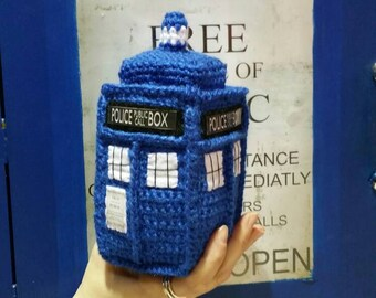 TARDIS WHO PLUSH 21cm inspired handmade tardis police box doctor who plushie crochet