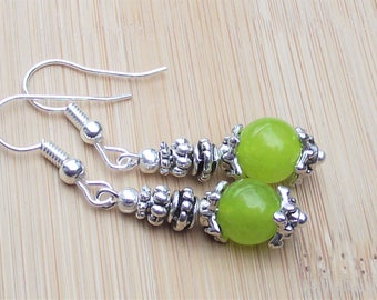 Peridot Lime Green Semi Precious Gemstones Tibetan Silver Roundel Handmade Dangle Hook Earrings Drop 42 mm