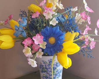 Silk Flower Arrangement, Yellow Tulips, Blue Daisies, Forget Me Not Vase, Faux Flowers, Soring Flowers, Small Pink Flowers, Tabletop Flowers
