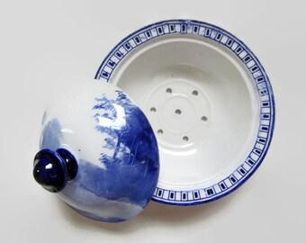 Soap Dish; Antique Soap Dish, Blue & White Soap Dish, Vitreous China Soap Dish, Wash Set Soap Dish