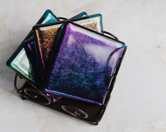 Rainbow Irridescent Coaster Set (4) (Stand not included)