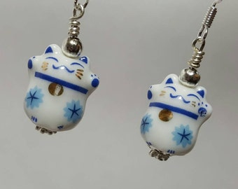 Chinese cat earrings, white cat jewelry