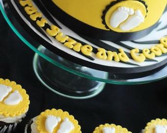12 fondant Baby feet cupcake topper