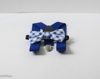Royal Blue Boy Suspenders and Bow Tie Set, Baby Suspenders, Toddler Suspenders, Girl Suspenders, Unisex Suspenders, Cake Smash, Bow Tie