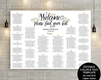 Seating chart sign, wedding seating chart, poster, alphabetical, find your seat, seating plan, printable, template, instant download, S14