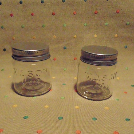 24 mini mason jars with metal lids by townandbeach on etsy. Black Bedroom Furniture Sets. Home Design Ideas