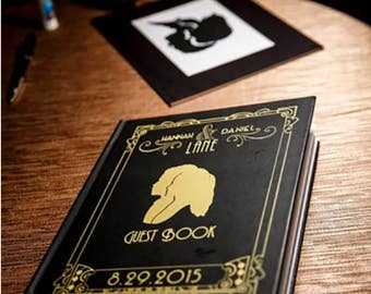 Custom wedding guest book / sign in book - black and gold silhouette