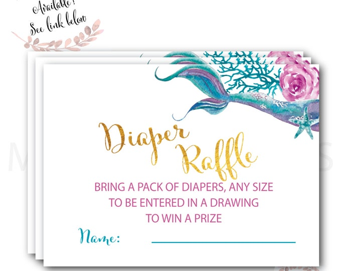 Mermaid Diaper Raffle //  Diaper Raffle Ticket // Gold // Mermaid Baby Shower // Mermaids // Instant Download //  QUEENSLAND COLLECTION