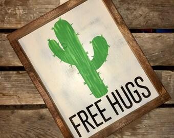 FREE HUGS | Cactus | Bohemian | Framed Wooden Sign