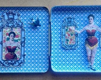 Tiny Vintage Tin with Tattooed Ladies