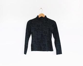 Vintage Versace Sport velvet devore burn out long sleeve top with turtleneck